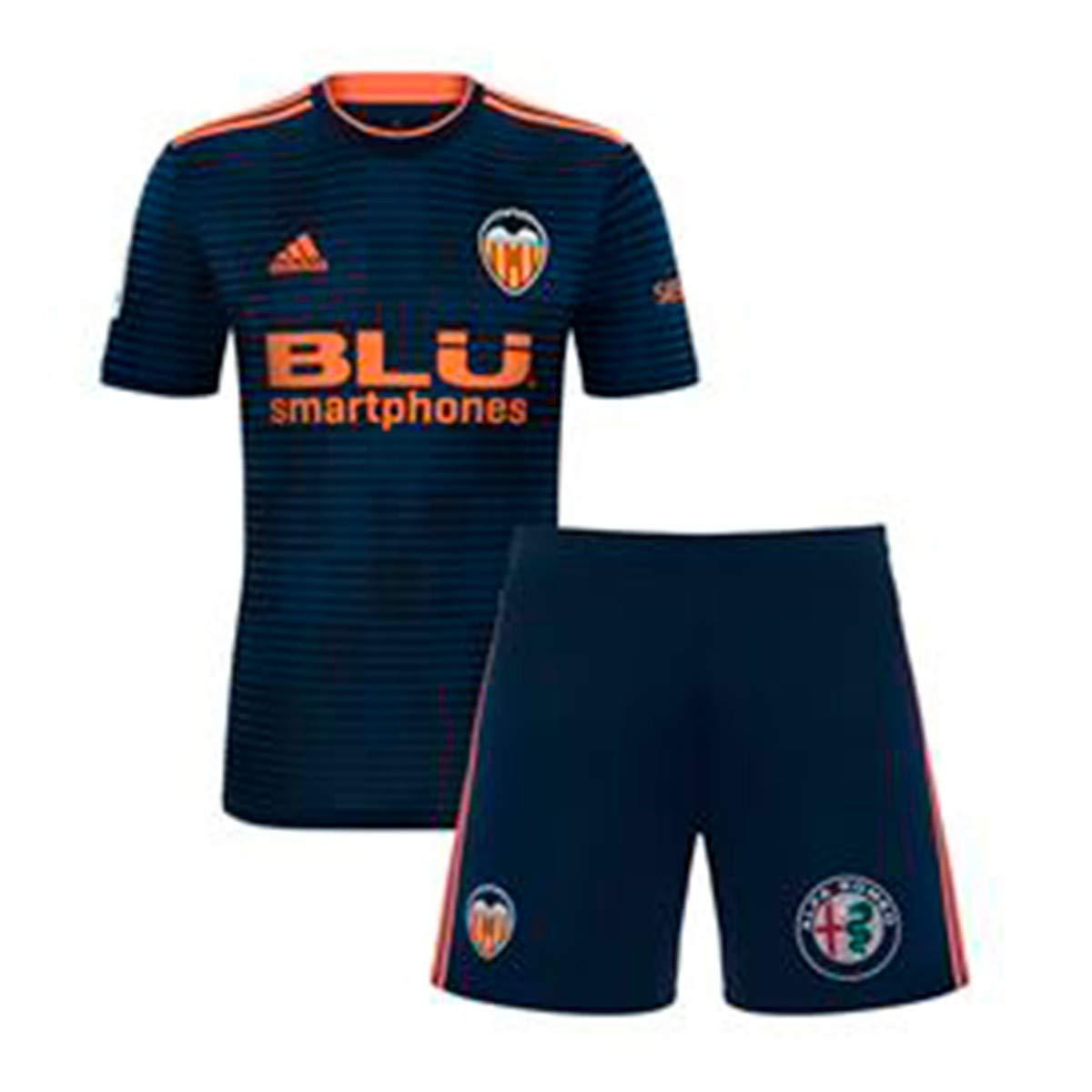 Adidas Valencia CF Segunda Equipación Niño 2018-2019, Conjunto, Collegiate Navy-Semi Solar Orange: Amazon.es: Deportes y aire libre