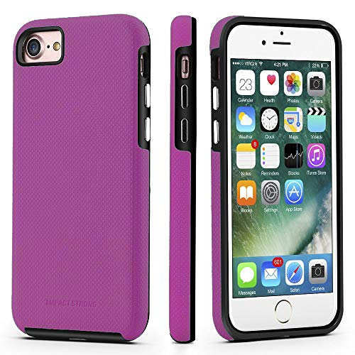 Case Purple Rubberized Protective (iPhone 7/8 Case, ImpactStrong Dual Guard Protection Shock-Absorbing Scratch-Resistant Protective Cover for Apple iPhone 7 and iPhone 8 - Purple)