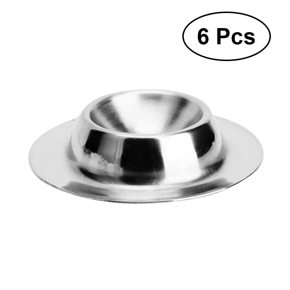6pcs/pack Practical Stylish Food Grade Creative 304 Stainless Steel Egg Holder Tray Breakfast Egg Dessert Ice Cream Cup Pudding