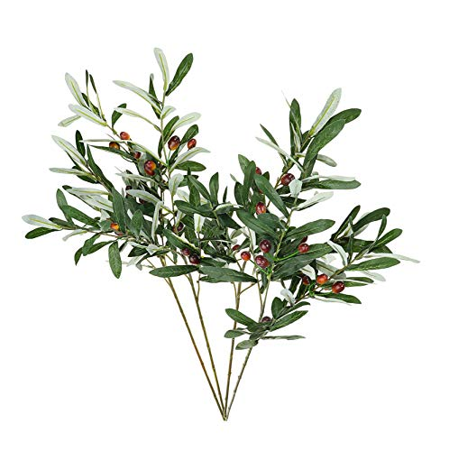 """Artificial Olive Branches and Stems with Fruit 30 """" for Decoration – Faux Plant Fake Olives Leaf – Indoor Outdoor Plastic Decor – 4 pcs AF17"""