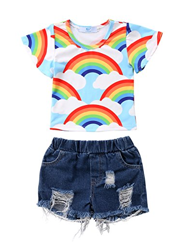 2Pcs Kids Little Baby Girls Rainbow Stripe T-Shirt Top and Holes Denim Shorts Outfit Set (3-4Y, (Rainbow Denim Shorts)