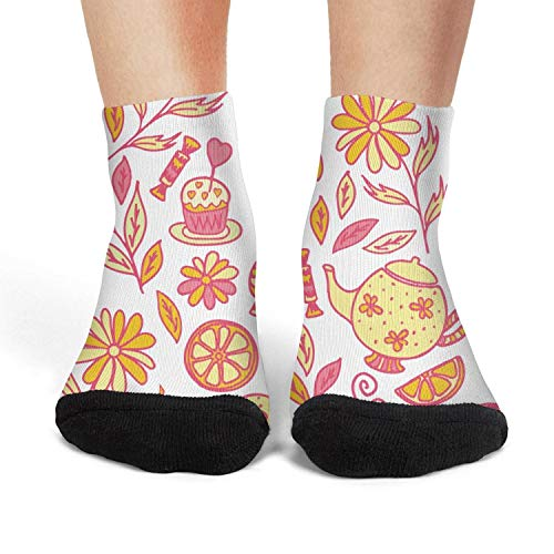 Women's Athletic Crew Socks Tea Time with Donut