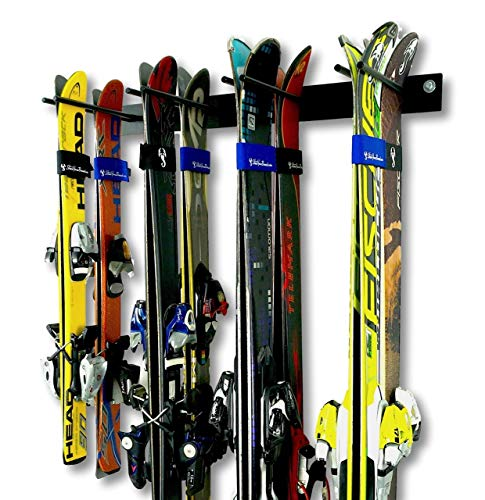 Ski Wall Storage Rack | Holds 8 Pairs | Steel Home and Garage Skis ()