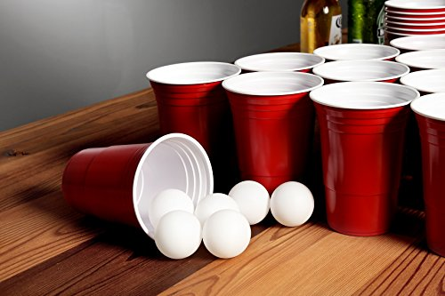 Juvale Beer Pong Game Set 24 Red Plastic Cups And 6 Ping