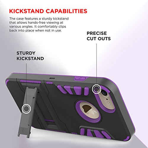 iPhone 8 Case / iPhone 7 Case - ZV Armor Cover Kickstand, Holster Clip, Heavy Duty Strong Protective Case Slim Shockproof Dual Layer