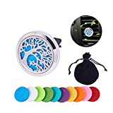 BENECREAT Tree of Life Car Air Freshener Aromatherapy Essential Oil Diffuser Stainless Steel Locket With Vent Clip 10 Washable Felt Pads - Style 2