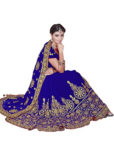 Mirchi Fashion Women's Embroidered Bridal Wedding Saree (3441_Royal Blue) by Sourbh