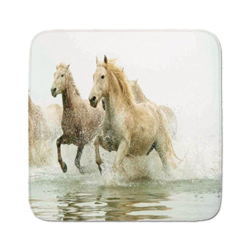 Cozy Seat Protector Pads Cushion Area Rug,Animal Decor,Camargue Horses in the Water Ancient Oldest Breed in Southern France Origin Artful Photo,White Beige,Easy to Use on Any Surface