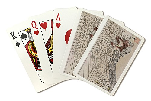 Old Man Playing a Flute Japanese Wood-Cut Print (Playing Card Deck - 52 Card Poker Size with Jokers)