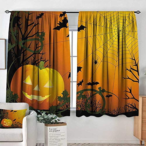 Mozenou Spider Web Patterned Drape for Glass Door Halloween Themed Composition with Pumpkin Leaves Trees Web and Bats Blackout Draperies for Bedroom 55