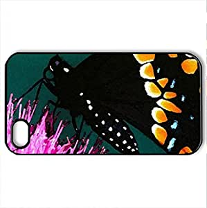 BEAUTIFUL BLACK - Case Cover for iPhone 4 and 4s (Butterflies Series, Watercolor style, Black)
