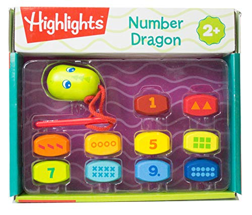 HABA Highlights Number Dragon - 11 Piece Wooden Threading Activity Develops Fine Motor Skills and Number Recognition - Ages ()