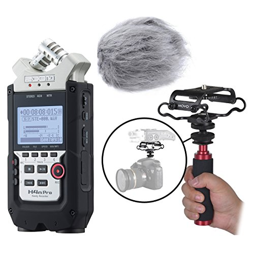 Zoom H4n PRO 4-Channel Handy Recorder Kit with Deadcat Windscreen, Shockmount, Camera Mount and Mic Grip