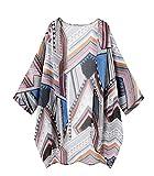 Taydey Women Floral Kimono Loose Half Sleeve Shawl Chiffon Casual Cardigan(Geometry XL)