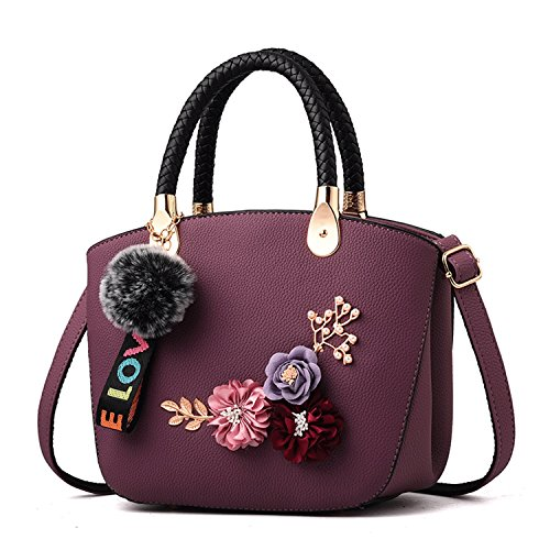 Bag Three Wild Small Dimensional Female DEI Black Color QI Exquisite Simple And Handbag Fashion Bag Purple Embroidery Bag Shoulder Messenger Bag gfw1nqx