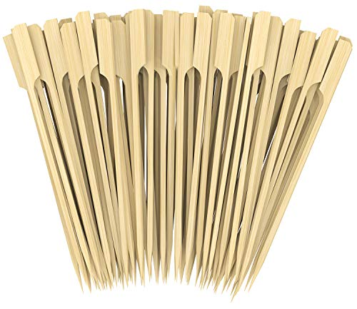 CandyHome Natural Bamboo Picks Paddle Skewers Bamboo Appetizer Skewers Food Grade Cocktail Picks, Grilling, Marshmallows, Fondue, Dessert, Fruit, Sausage and More, 7 Inch 200 Pack