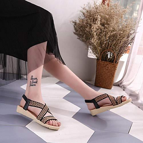 mode élégantes Sandales décontractée tongs été femmes d'été Peep élégantes Toe pour chaussures Vicgrey ❤ dames Noir pour Femmes romaines 5aqTwXa1