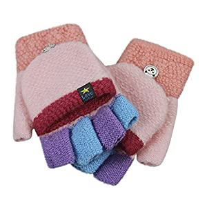 Kids Toddler Magic Wool Knit Convertible Flip Top Gloves with Mitten Cover Winter Warm Half Finger Texting Mittens Fingerless Snow Ski Thermal Gloves Hand Warmer Christmas Gift for Girls Boys Age 4-9Y