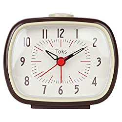 Lily's Home Quiet Non-Ticking Silent Quartz Vintage/Retro Inspired Analog Alarm Clock - Brown