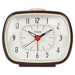 Lily's Home Quiet Non-ticking Silent Quartz Vintage/Retro Inspired Analog Alarm Clock - Brown