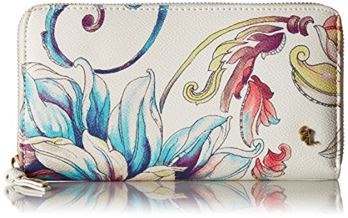 Theo Large Zip Wallet White Wildflower, One Size