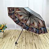 Gelaiken Sun Umbrella Multi Umbrella 24.5cm Oil Painting Anti-UV Women's Parasol Folding Princess Arched Travel Fashion Printed Brolly Portable Umbrella Lightweight Umbrella (Color : D)