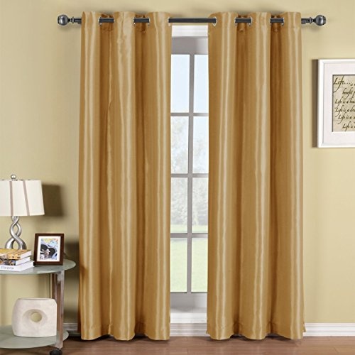 Soho Gold Grommet Blackout Window Curtain Panel, Solid Pattern, 42x84 inches, by Royal (Curtain Gold)