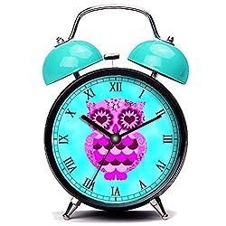 GIRLSIGHT3 Blue Alarm Clock, Cute Cute Pink Purple Heart Retro Owl Groovy Teal Sky Loud Alarm Clock Twin Bell Alarm Clocks with Nightlight