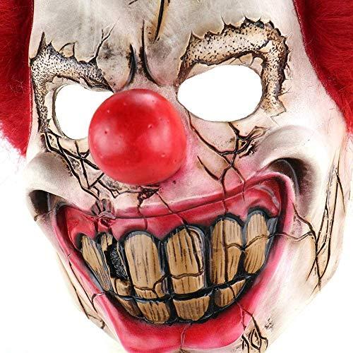 Latex Joker Clown Mask Costume Funny Scary Mask Creepy Evil Scary Halloween Clown Mask Full Head Big Nose -