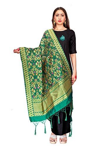 ELINA FASHION Women's Zari Work Indian Banarasi Art Silk Woven Only Dupatta for Dress Material & Salwar Suit (Teal 2) (Silk Woven Suit)