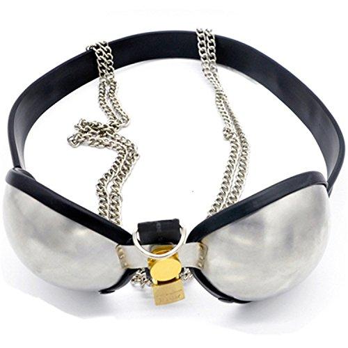 Stainless Steel Chastity Underwear Adjustable Size Chastity Bra/Brassiere Virginity Belt Female Chastity Device Sex Toys G7-5-37 Black 96-105cm