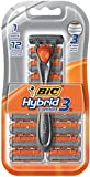 BIC Hybrid 3 Comfort Disposable Razor, Men, 12 Count
