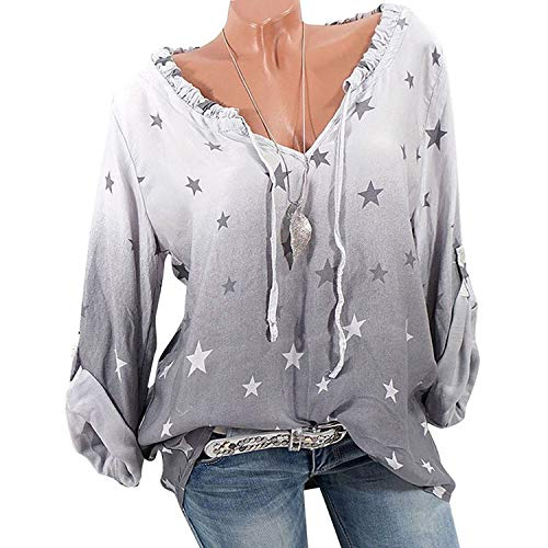 Women Tops and Blouse Blouses Casual Long Sleeve Loose Chemise Sexy V-Neck Lace up Blouse Shirt,Gray,XL