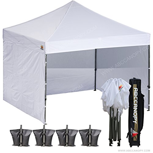 (18+ colors)AbcCanopy 8ft by 8ft Ez Pop up Canopy Tent Commercial Instant Gazebos with 4 Removable Sides and Roller Bag and 4x Weight Bag (white)