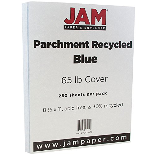 (JAM PAPER Parchment 65lb Cardstock - 8.5 x 11 Coverstock - Blue Recycled - 250 Sheets/Ream)