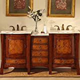 Silkroad Exclusive Double Sink Bowl Bathroom Vanity with Dual Bath Furniture Cabinet, 67-Inch