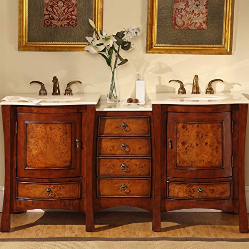 "Silkroad Exclusive HYP-0727-CM-UIC-67 Double Sink Bowl Bathroom Vanity with Dual Bath Furniture Cabinet, 67"", Medium Wood"