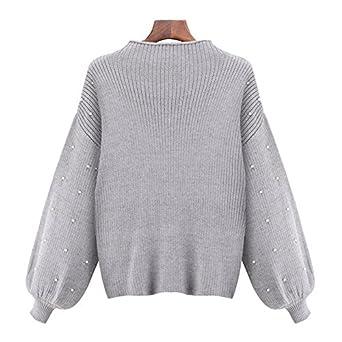 Lingswallow Women Sweet Beaded Knit Turtleneck Puff Sleeve Pullover Sweater