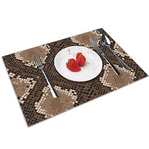 Sanghing Snake Skin Background Tray Mat, Tray Mat 12x18 in 4 Pieces of Non-Slip Washable Tray Mat, Table Heat-Resistant Kitchen Tray Mat