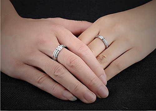 Stainless Steel Couple Wedding Bands for Him and Her 4MM Womens Promise Engagement Rings Size 7 by Aienid (Image #1)