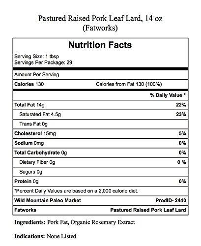 Pure Pork Leaf Lard, Free Range & Pasture Raised, 14oz (2 Jars)