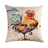 7COLORROOM Watercolor Rooster Decorative Cushion Case Art Colorful Chicken Pillow Covers Rustic Farmhouse