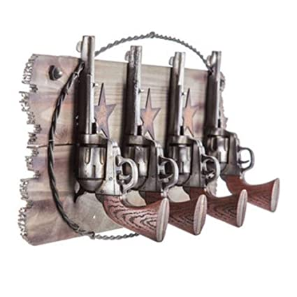 Amazon.com  Weelongha Four Pistols Western Coat Rack Hook Set Farm ... 8f10412e47cb