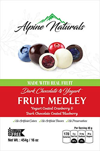 Alpine Naturals Fruit Medley Dark Chocolate Blueberries & Yogurt Cranberries, 16 Ounce Candy Chocolate Dried Fruit