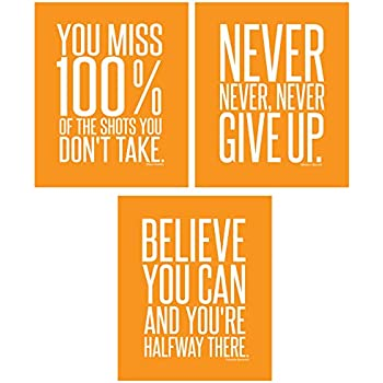 Motivational Inspirational Famous Quotes Teen Boy Girl Sports Wall Art Posters Decorative Prints Workout Fitness Wall Decor Home Office Business (8 x 10 Orange)