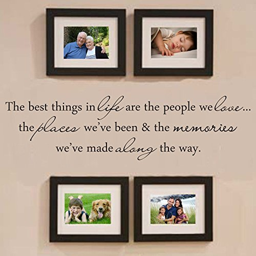 MoharWall Wall Decals Quote Living Room Warm Vinyl Art Wall Stickers Picture Frame Decoration - The Best Things in Life are The People We Love (The Best Things In Life Wall Decal)