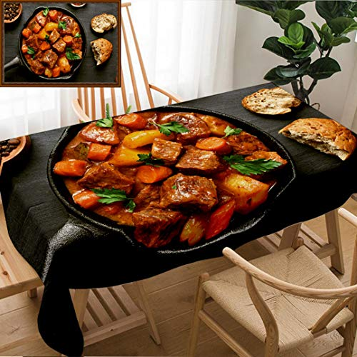 - Skocici Unique Custom Design Cotton and Linen Blend Tablecloth Goulash Beef Stew in Cast Iron Pan On Dark Background Top View Close UpTablecovers for Rectangle Tables, 70