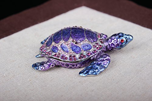 znewlook Turtle Trinket Box Jewelry Box with Inlaid Crystal Figurine (Blue, 11.573.5 cm (LWH))