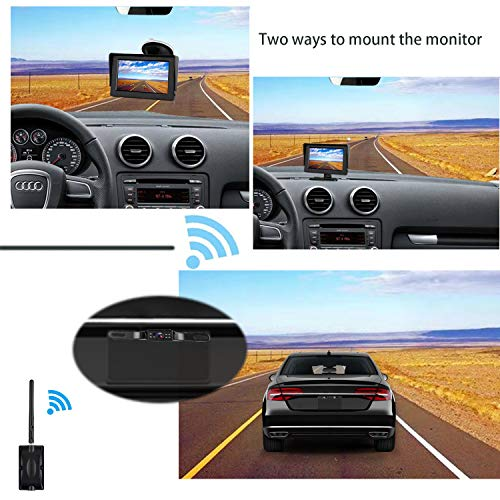 CooMees Backup Camera Digital Wireless 4.3 Monitor System Truly Color Rear Front View Waterproof Camera For Cars Trucks Vans SUVs RV Trailers Driving Reversing Use Guide Lines Optional