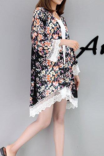 Stampa Chiffona Donne Floreale Le Cardigan Parti Kimono Allentate Relipop Del Camicetta Nero Delle Superiori Pura xpqZfaXp7w